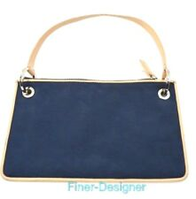 DKNY Signature Small Purse bag NAVY logo canvas leather clutch cosmetic wristlet
