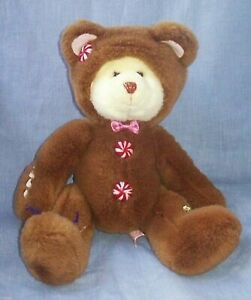 """Christmas GINGERBREAD COOKIE Peppermint Plush Teddy Bear with Hood 12"""" Russ"""