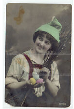 Russia postcard Easter Smiling woman, eggs, pussy-willow (339)