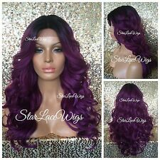 Lace Front Wig Long Loose Curls Purple Fuchsia Dark Roots Layers Heat Safe Ok