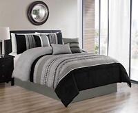 DCP 7Pcs Oversized Embroidery Bed in Bag Microfiber Comforter Set Black Queen