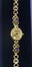 "Sovereign 9ct Gold & Amethyst Ladies Bracelet Watch, 6.4"", 9.5g"
