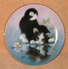 """The Hamiltion Collection Cat Plate """" Rainy Day Friends """" Mnb"""