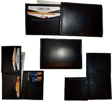 Lot of 4 New Style Trifold Leather Man's Black wallet 7 Credit cards ID case NWT