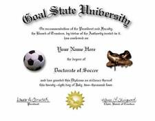 Doctorate Of Soccer Novelty Diploma! Great Gift!