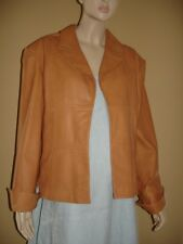 ISABEL CAMEL BROWN SOFT ITALIAN LEATHER PANEL JACKET XL