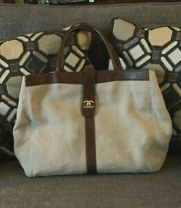 Chanel Tote Hand Bag Purse with Leather Trim