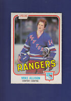 Mike Allison RC 1981-82 O-PEE-CHEE OPC Hockey #221 (NM+) New York Rangers