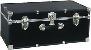 """30"""" Black Storage Trunk for College Student Dorm, Bedroom or Small Living Space"""