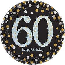 8 Doré Célébration 60 Ans Assiettes en Papier Argent or Noir 60th Anniversaire