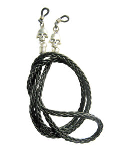 ✫LEATHER & SKULLS (I)✫ MENS BLACK/BROWN EYEGLASS SPECTACLES GLASSES CORD  CHAIN