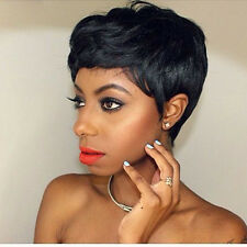 Short Wavy Curly Pixie Cut Wigs Cosplay Full Natural Hair Black Brazilian Women