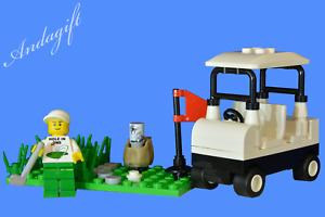 LEGO golf buggy cart car golfing minifigure and golf club bag custom set  sport