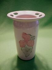 Handcrafted heavy art pottery Toothbrush and Toothpaste holder with flowers. Exc