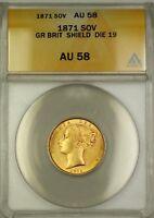 1871 Great Britain Shield Die 19 Sovereign Gold Coin ANACS AU-58