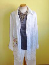 Leinenhemd Malvin weiß mit Blüten Longhemd Größe 48 wie neu
