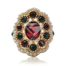 Alloy Gold Plated Pearl Crystal Jewelry Vintage Ruby Emerald 2016 Rings BM