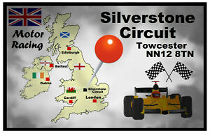 MOTOR RACING (SILVERSTONE) - SOUVENIR NOVELTY FRIDGE MAGNET FLAGS / MAP / GIFTS