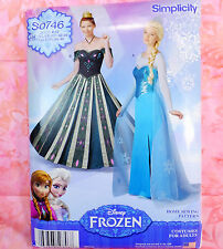 Simplicity S0746 Disney Frozen Princess Costume Sewing Pattern Adult Size 6-12