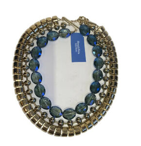 NWT Simply Vera Wang 3 strand blue topaz crystal Gold Tone Metal Necklace