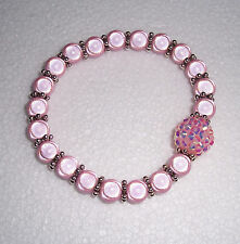 Pink Miracle Bead Stretch Bracelet with Disco Bead Fashion Jools Handmade