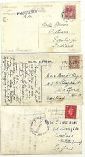1911/38  3 DIFF LONDON PAQUEBOT POSTMARKS ON PPCs EX JAMAICA PORTUGAL & EGYPT