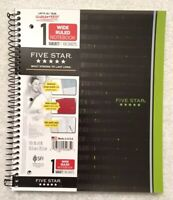 Mead Five Star 1 subject notebook wide ruled 100 sheets 2 pockets Green/Black