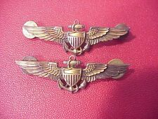 ORIGINAL WWII LOT OF 2 FULL SIZE NAVAL AVIATOR PILOT WINGS - AMICO G ON STERLING