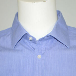 THOMAS PINK Classic Fit Blue Striped Cotton Dress Shirt Sz 16.5 - 35