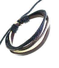 Leather Strap & Coloured Cords Bracelet Wristband Surf Surfer BROWN Adjustable