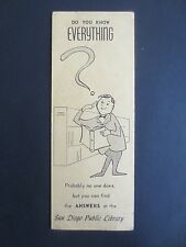 Vintage BOOKMARK San Diego Public Library Do You Know Everything American USA