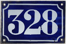 Old blue French house number 328 door gate plate plaque enamel metal sign c1900
