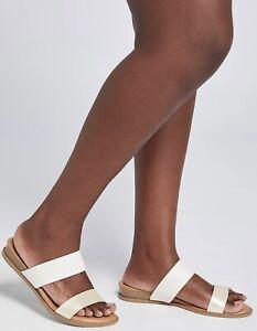 Lane Bryant Metallic Textured Double-Strap Slide Sandal Size 8W Wide