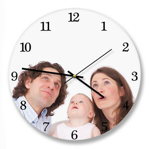 Personalized circle wall clock with your photo or image. Your own choice of dial