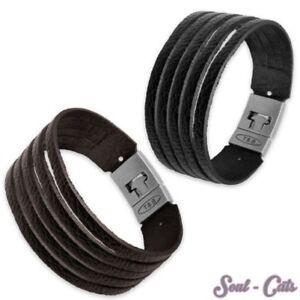 Leather Bracelet With Clasp Dark Brown Braun Black Bracelet Leather Surf