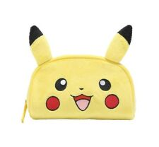 Pokemon Pikachu Cosmetic Soft Fuzzy Pouch  with Ear Travel Accessory Clutch Bag