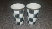 2 Mackenzie Childs Courtly Check Enamel Tumblers/Cups -10 Ounce- one is damaged