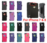 For iPhone 7 & 8 Shockproof Case Cover Defender with (Belt Clip Fits Otterbox)
