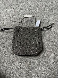 Evening Bag Heavy Beading Black Velvet And Silver By Java BNWT