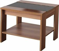 Hollywood Walnut Veneer and Black Gloss Lamp Table Side