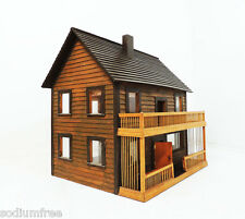 """Vintage Handcrafted Large Two Story Cabin Dollhouse W29 1/4"""" x D21 3/4"""" x H28"""""""