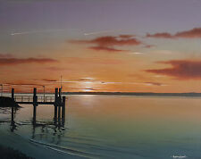 """ Night Flights over Yarmouth "" isle of wight Sunset 10 x 8 Mounted Miniprint"