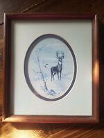 Ken Holland Vintage Deer Print Up Wind 7.75 in x 9 in Photograph Wood Framed