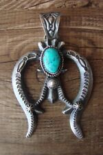 Navajo Indian Sterling Silver Turquoise Cast Naja Pendant -E. & L. Billah