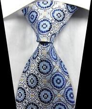 New Classic Patterns Blue Brown Gold JACQUARD WOVEN 100% Silk Men's Tie Necktie