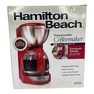 Hamilton Beach Programmable Coffee Maker Red 8 - 12 Cups Auto Shut Off 49756