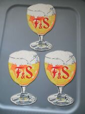 Lot Of 3 Vintage Fuhrmann & Schmidt Brewing Co. Shamokin Pa Beer Glass Signs Art