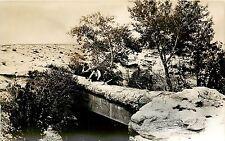 1930s RPPC Log Bridge Petrified Forest National Monument AZ Santa Fe Camera Shop