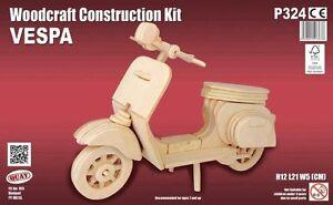 Vespa: Woodcraft Quay Construction Wooden Motocycle 3D Model Kit P324 Age 7 plus