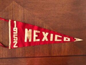 1952 Orig Mexican Baseball Pennant Flag DIABLOS ROJOS DE MEXICO Angel Castro Mgr